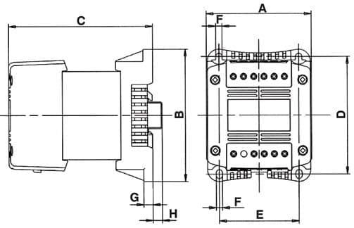 schéma transformateur mono Primaire : 230/400 V Secondaire : 24/48 VAC