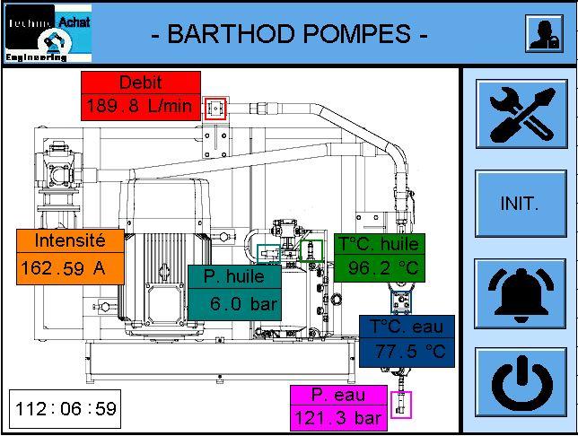 écran HMI banc de pompage