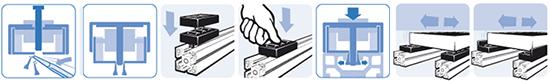 sch�ma de montage des �l�ments de rouleaux avec guidage lat�ral