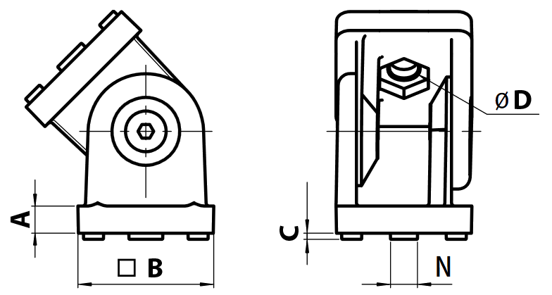schema cotes articulation pour profilé aluminium