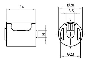 Connexion � 45� entre deux barres Profil� Aluminium rond D28