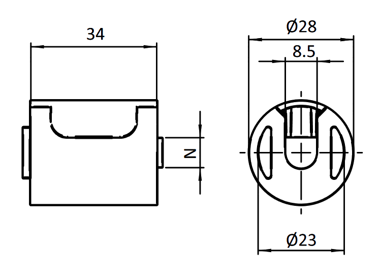 sch�ma de montageminium rond d28 profil� alu