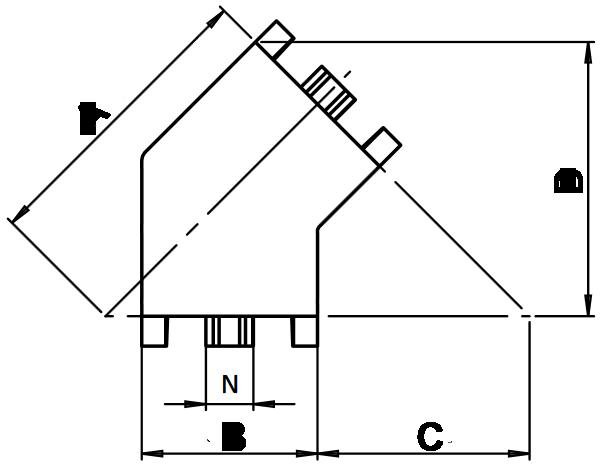 schema cotes raccord 45°