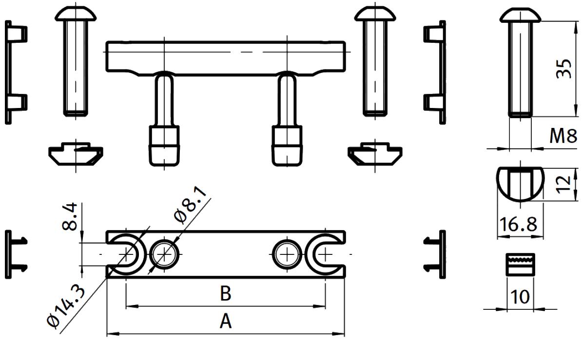 schéma jonction à boulon profilé aluminium