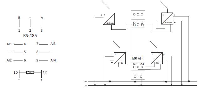 schema convertisseur de signal 4 contacts