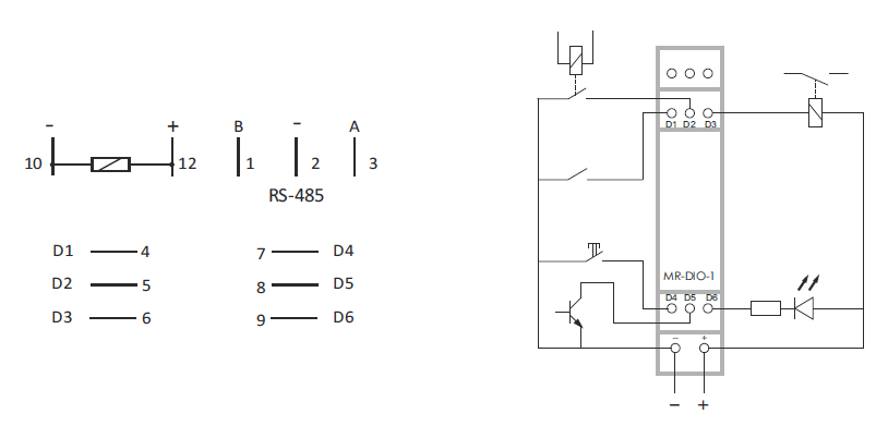 schema convertisseur de signal 6 contacts