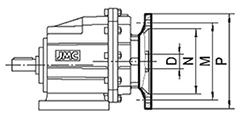 schema Bride d'entrée + Arbre d'accouplement pour réducteur HG 20 ou HG 25