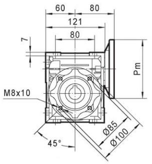 cotes réducteur roue et vis TNRV050