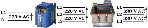 schema de principe 220V mono 400V triphasé