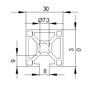 Schéma côtes pour profilé aluminium 30x30 1N avec une rainure de 8mm