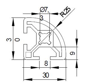 Schéma d'un profilé aluminium 30x30R