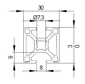Schéma côtes pour barre de profilé aluminium 30x30 2N, 2 rainures 8 mm à 180°