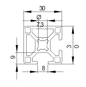 Schéma profilé aluminium 30x30, 2 rainures à 90° de 8mm