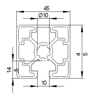 Schéma profilé aluminium 45x45L 1N de rainure 10 mm