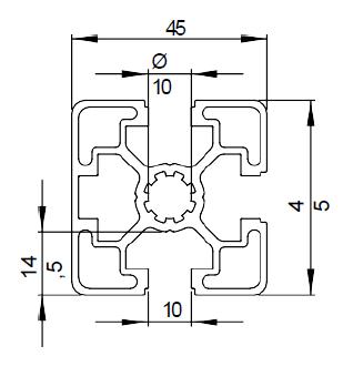Schéma pou profilé aluminium 45x45 3N de rainure 10mm