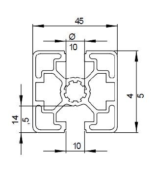 Schéma explicatif profilé aluminium 45x45 2N, rainure 10 mm