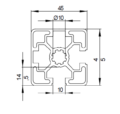 Schéma explicatif du profilé aluminium 45x45 2N90