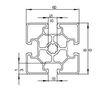 Schéma profilé aluminium 60x60L
