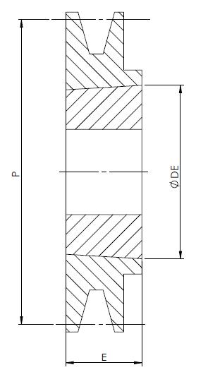 Schéma poulie de type SPZ à 1 gorge